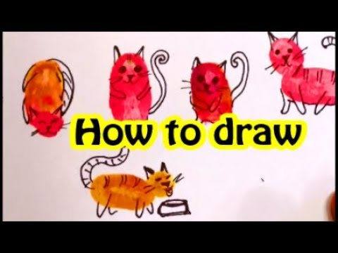 HOW TO DRAW CUTE CATS with THUMBPRINTS.  Easy and fun!